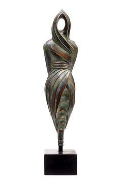 #Bronze #sculpture by #sculptor Bernard Miles Pearson titled: 'Omaggio (Small abstract Bronze Woman statue)'. #BernardMilesPearson