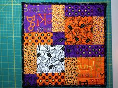 Disappearing 9 patch made with Moda Happy Howl-o-ween
