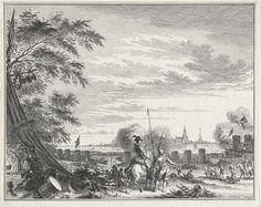 Simon Fokke | Beleg van Grave door Maurits, 1602, Simon Fokke, 1756 - 1758 | De stad Grave, belegerd en veroverd door het Staatse leger onder prins Maurits, 18 juli - 20 september 1602. De prins te paard in het legerkamp, in de verte het profiel van de stad.