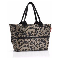 Baroque Taupe Shopper Bag E1 (1.475 RUB) ❤ liked on Polyvore featuring bags, handbags, tote bags, zipper tote, zipper handbag, taupe tote, zip tote and purse tote