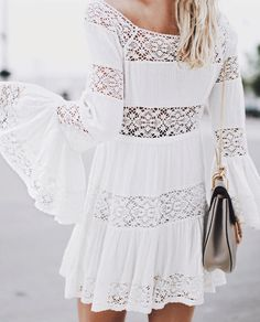 Bell sleeve boho dress