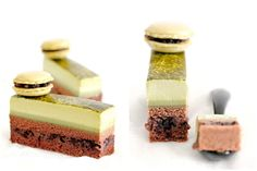 Layers (top to bottom) - Matcha whipped cream, matcha mousse, chocolate sponge, azuki chocolate ganache, chocolate sponge