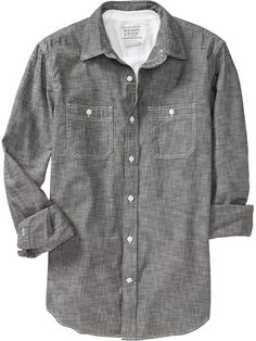 Men's Slim-Fit Chambray Shirts Product Image