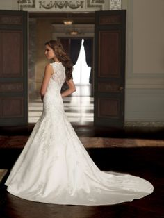 satin and tulle A-line wedding dress