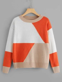 Shop Cut And Sew Panel Sweater online. SHEIN offers Cut And Sew Panel Sweater & more to fit your fashionable needs. Pullover Mode, Big Knit Blanket, Big Knits, Seed Stitch, Boys Sweaters, Knitted Bags, Sweater Fashion, Pulls, Baby Knitting
