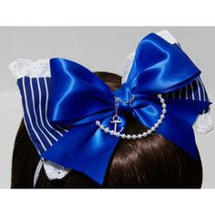 Cobalt Blue and White Nautical Gothic and Lolita Sailor Bow Headband -... ($35) ❤ liked on Polyvore featuring accessories, hair accessories, headband, lolita, anchor headband, chain headbands, head wrap hair accessories, bow headwrap and ribbon wrapped headbands