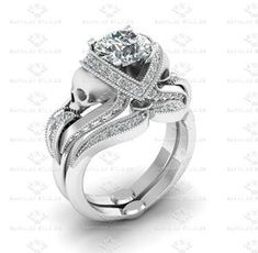 Show details for 'Aphrodite' 2.10ct White Diamond Skull White Gold Bridal set