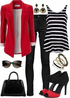 Black and with stripes shirt with red Blazer and Jeans.
