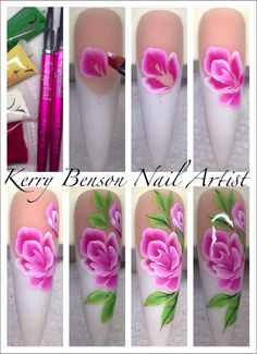 Step by Step with successful Nail Artist, Kerry Benson www. by Step with successful Nail Artist, Kerry Benson www. Floral Nail Art, Nail Art Diy, Cool Nail Art, One Stroke Nails, Nails First, Beautiful Nail Designs, Nail Decorations, 3d Nails, Flower Nails