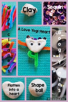 """To make your Love Yogi Heart, you will need: 1-pipe cleaners for arms & legs 2-self-drying clay 3-googly eyes 4-sequin  First shape your clay into a ball. Next make a dent in the middle using your index finger, pinch the bottom part and press it down into a heart shape. After that add arms & legs. Think of a yoga pose & place arms and legs in the form of that pose-here my Yogi Heart is doing """"Tree"""".Then add your eyes. Finally, add the sequin.  You are done! Why not giving  it to someone special? Pipe Cleaner Crafts, Pipe Cleaners, Mindfulness For Kids, Googly Eyes, Dry Clay, Giving, Young People, Heart Shapes, Finger"""