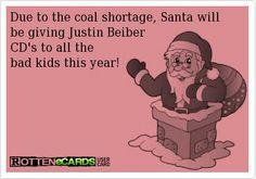 Christmas #ecard #funny #Bieber #coal #santa