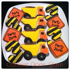 Cookies gone glam Construction Cookies, Construction Birthday Parties, Construction Party, 3rd Birthday Parties, Twin First Birthday, Boy Birthday, Birthday Ideas, Birthday Cookies, First Birthdays