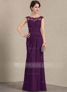 e6ecfffd6e0 A-Line Princess Scoop Neck Floor-Length Chiffon Lace Mother of the Bride  Dress With Ruffle - Mother of the Bride Dresses - JJsHouse