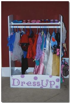 Dress Up Center (from recycled Baby Dresser).. Need this! My daughter has a plastic tub  we keep all her dress up stuff in.
