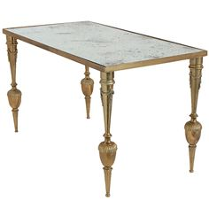 View this item and discover similar for sale at - French vintage Neoclassic coffee table in solid gilt brass with an antiqued mirrored glass top. Table, Neoclassical Design, Furniture, Victorian Furniture, Brass Coffee Table, French Cafe, Home Decor, Coffee Table, Dining Table