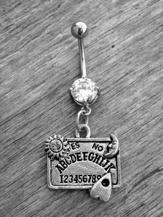 Silver Ouija Board and Diamond Stainless Steel Belly Button Ring by Ink & Roses 13