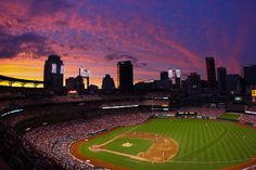 Busch Stadium at sunset-home of the St. Louis Cardinals