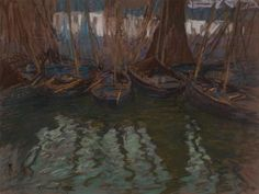 """The Harbor in my Early Days,"" Charles Fromuth, 1897, pastel, 18 x 23 1/4"", private collection."