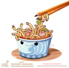 Daily Paint Instant Doodles by Cryptid-Creations on DeviantArt Cute Food Drawings, Funny Drawings, Cute Animal Drawings, Kawaii Drawings, Cartoon Art, Cute Cartoon, Doodle Cartoon, Animal Puns, Animal Food
