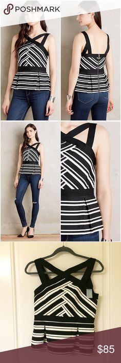 """Black White Structured Bandage Cut Out Peplum Tank New with tags! HD in Paris for Anthropologie. Strappy top made of a structured fabric that's similar to what you would find on bandage dresses. This top is part of the anthro petite line, but I'm 5'5"""" and it wasn't too short on me...I just needed an XS cause I have extremely narrow, bony shoulders. Miette style. Size small petite. NO TRADES!! Anthropologie Tops Tank Tops"""