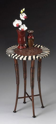 Butler Heritage Accent Table in Zebra Pattern