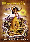 This is a nice illustrated travel poster for United Airlines for flights to the islands of Hawaii. This vintage poster shows a Hawaiian hula dancer with the Hawaiian islands in the background with a United Airlines airplane flying above. This poster dates United Airlines, Vintage Travel Posters, Vintage Ads, Vintage Airline, Vintage Style, Vintage Advertisements, Vintage Prints, Vintage Designs, Hawaii Vintage