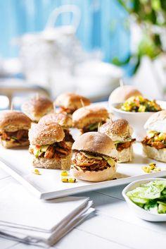 Heston for Waitrose: 14 BBQ Recipes Barbecue Recipes, Pork Recipes, Heston Blumenthal, Pork Sandwich, Sandwiches, Pork Sliders, Western Food, Slider Recipes, Smoked Pork