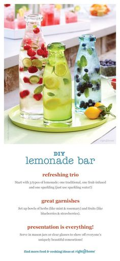 DIY Lemonade Bar - super easy way to enjoy an outdoor party in style. Plus look how cool the lemonade turns out! Snacks Für Party, Party Drinks, Fun Drinks, Healthy Drinks, Fruit Party, Beverages, Party Games, Refreshing Drinks, Summer Drinks
