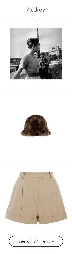 """Audrey"" by thepinkchanelsuit ❤ liked on Polyvore featuring audrey hepburn, pictures, accessories, hats, women, louis vuitton, mink hat, pattern hats, mink fur hat and louis vuitton hat"