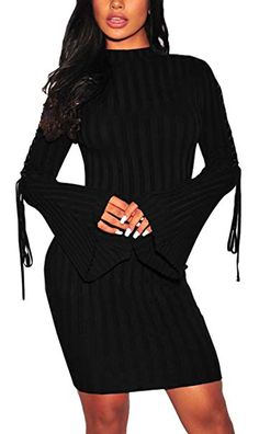Women Sexy Sweater Dress Mock Neck Bell Bandage Long Sleeve Knit  Stretchable Slim Fit Pencil Business 072301282