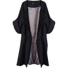 Merci Me London - Calla Coat Black (6.765 ARS) ❤ liked on Polyvore featuring outerwear, coats, jackets, abrigo, tops, black oversized coat, oversized coat, woolen coat, wool coat and oversized wool coat