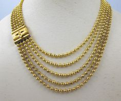 Brass Ball Bead Necklace, Art Deco Multi Strand Necklace, 1930s Art Deco Jewelry Necklace, Gold Chainmaille