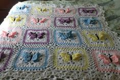 flower afghans to crochet free patterns | Rhonda's Crocheted Butterfly Afghan by jenna2007