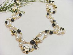 Chanel Beads Necklace With Camellia Long