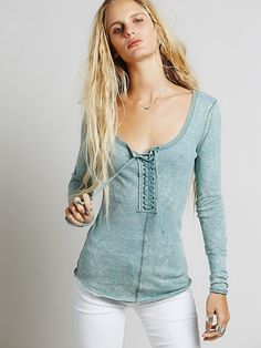 e7a9c048db We The Free Lace Up Layering at Free People Clothing Boutique Free People  Thermal
