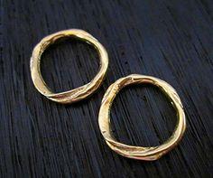 Gold Bronze Rustic Textured Artisan Closed by VDIJewelryFindings