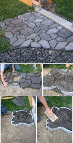 DIY Home Project: Cement Cobblestone Path