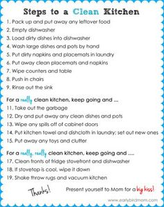 Kitchen Checklist kitchen cleaning checklist - daily, weekly and monthly chores +