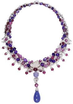 Cartier 18k white gold diamond & gemstone necklace. circa 2005 Has diamond, amethyst, ruby star sapphire and chalcedony