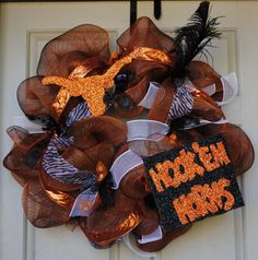 University of Texas UT Longhorns Mesh Wreath