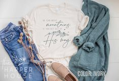 Excited to share the latest addition to my #etsy shop: Christian Shirts for Women He Can Move Mountains Tshirt Cute Jesus Shirt Mothers Day Gift for Her