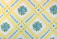 flowering lattice in yellow & turquoise a vintage by duckyhouse