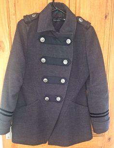 funky/punk/steampunk grey River Island grey military style coat, size 10.  | eBay