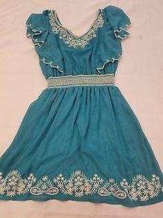 Maude Dress Anthropologie Sz M womens Dark Teal ruffle embroidery lined cute