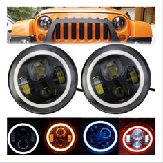 CREE Led Headlight Angle Eyes for Wrangler (three colors) Led Halo Headlights, Projector Headlights, Led Projector, Jeep Wrangler Jk, Angel Eyes, Beams, Amber, Black 7, High Low