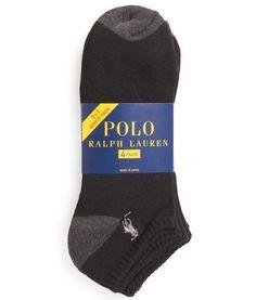 POLO RALPH LAUREN 4 Pairs Low Cut Casual Socks Heel Toe Contrast w  Grey  Pony 9495d664400