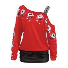 2d42055ccd23c Womens Christmas Off shoulder Top. Cold Shoulder Santa Claus Laugh Print T- shirt