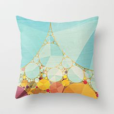 Travelling Show Abstract Circus Carnival Tent Throw Pillow by V. Sanderson / Chickens in the Trees - $20.00