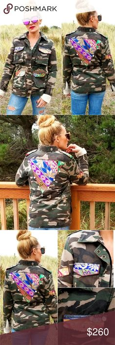 SARI CAMO JACKET Brand new with tags Boutique item  Check out this amazingly details CAMO print jacket. This jacket sets itself apart from the ordinary camo jacket with hand embroided details on the front and back, little charm details drawstring, zipper and button up front, pockets and so much more. Comfortable and on trend.  Each jacket is unique and special. No two jackets are identical, print/embroider colors vary per jacket  65%polyester 35%cotton Made in India  Fall winter trendy…