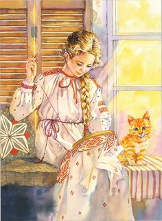 Ukrainian Art, Cross Stitch Art, Sewing Art, Illustration Girl, Cartoon Pics, Heart Art, Beautiful Paintings, Belle Photo, Traditional Art